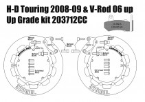 Harley Davidson Touring 2008-09 e V-Rod 2006-10 - Kit dischi freno 320 mm e pastiglie