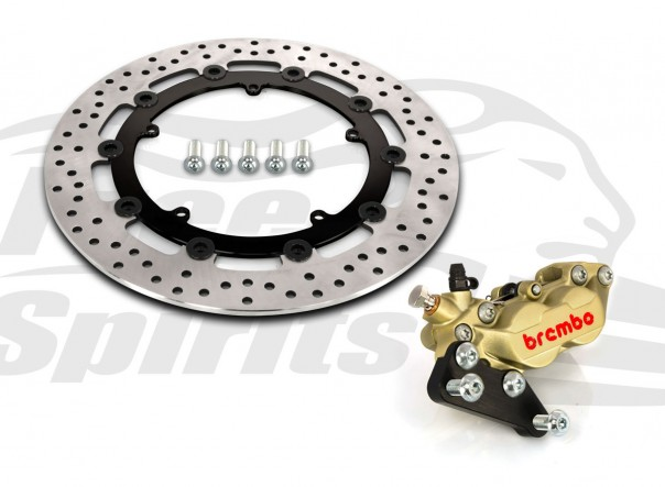 Harley Davidson Dyna cast wheels 06-17 - Bolt-in kit with 4p. (Gold) caliper & (Black) rotor 320 mm