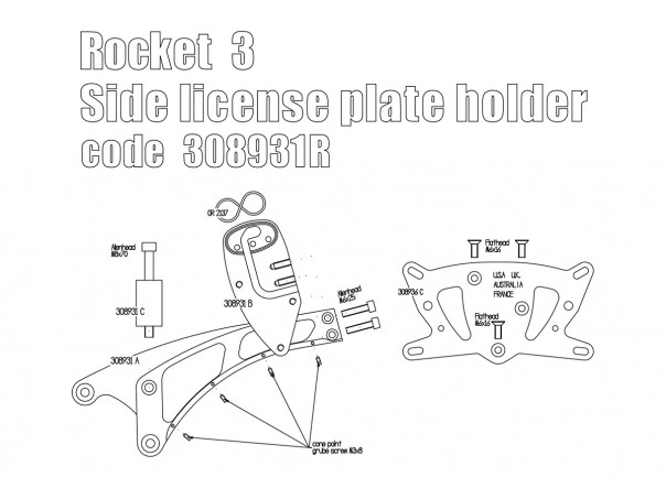 Side license plate bracket (UK/USA/AUS/France) for Triumph Rocket 3