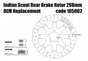 Indian Scout - OEM replacement rear brake rotor 298mm & pads - KIT