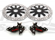 Harley Davidson dual disc 2000 up - Bolt-in kit with 4p.(Black) calipers & rotors 320 mm