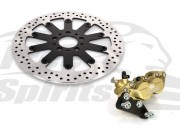 Harley Davidson dal 2000 con disco freno singolo - Kit pinza (Oro) 4p. e disco freno 320 mm - KIT (Default)