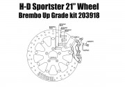 """Harley Davidson Sportster with 21"""" Wheel - Bolt-in kit with 4p. (Titanium) caliper & rotor 320 mm"""