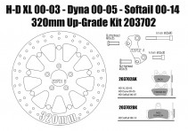 Harley Davidson Sportster 00-03, Dyna 00-05 & Softail 00-14 Brake rotors kit (320 mm) & pads - KIT
