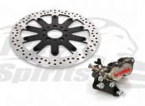 Harley Davidson Sportster 00 up & Dyna 00-05 with spoked wheels - Bolt-in kit with 4p. caliper & rotor 320 mm - KIT