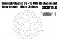 Triumph Bonneville SE & Speedmaster 2011-16 - OEM replacement front brake rotor 310mm & pads