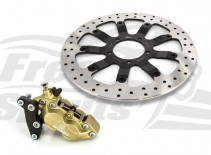 Bolt-in Upgrade braking kit for Triumph Bobber, Street Scrambler & Bonneville T100 (4p. caliper & rotor diam. 340 mm) - KIT