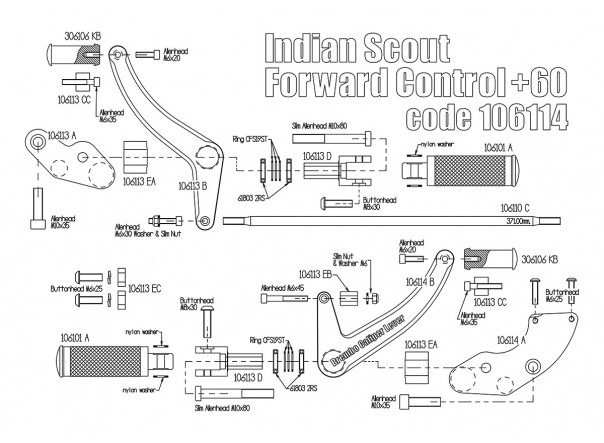 Forward control kit for Indian Scout