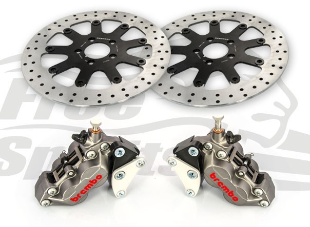 Bolt-in Upgrade braking kit (Titanium) for Harley Davidson XG Street Rod (4p. calipers & rotors diam. 320 mm)