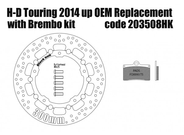 Harley Davidson Touring 2014 up OEM replacement front brake rotor (Black) 300mm & pads for Brembo kits