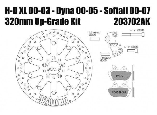 Harley Davidson Sportster 00-03, Dyna 00-05 & Softail 00-07 Brake rotors kit (320 mm) & pads