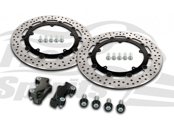 Harley Davidson Touring 2008-09 & V-Rod 06-10 - Brake rotors kit (Black) 320 mm & pads