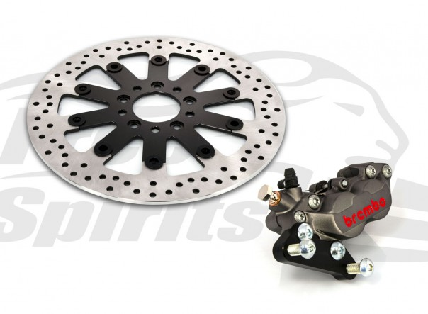 Bolt-in Upgrade braking kit for Harley Davidson Sportster 2000 up (4p. caliper & rotor diam. 300 mm)