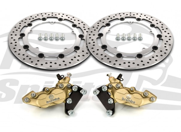 Harley Davidson Touring 07-09, Dyna 06-17 & V-Rod 02-10 - Bolt-in kit with 4p. (Gold) calipers & (Chrome) rotors 320 mm