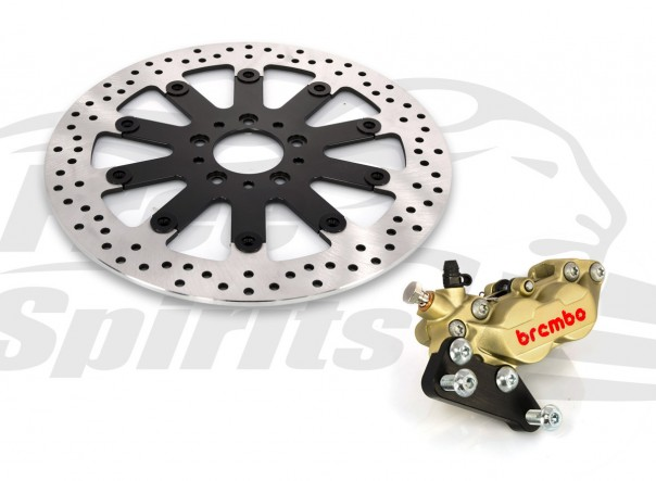 Harley Davidson Sportster 00 up & Dyna 00-05 with spoked wheels - Bolt-in kit with 4p. (Gold) caliper & rotor 320 mm