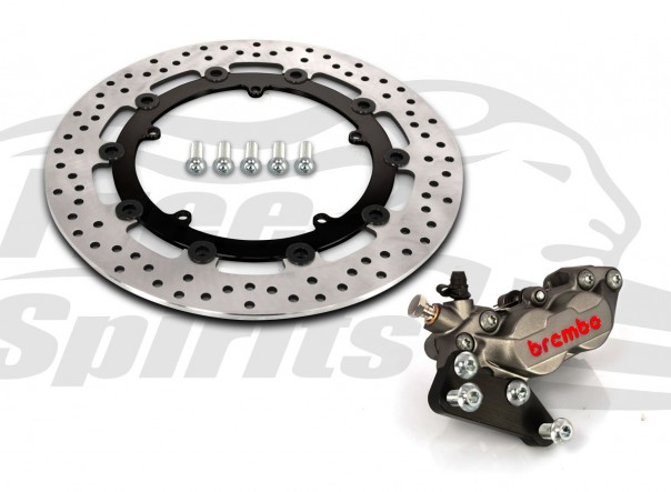 Harley Davidson Dyna cast wheels 06-17 - Bolt-in kit with 4p. (Titanium) caliper & (Black) rotor 320 mm