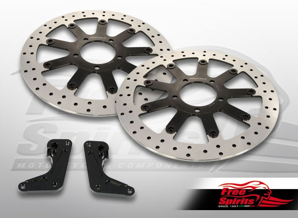 Triumph Bonneville T120 & Thruxton 1200 Standard - Upgrade floating front brake rotors kit (340 mm) & pads