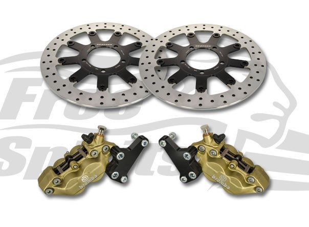 Bolt-in Upgrade braking kit for Triumph Thruxton 1200 Std, Speedmaster & Bobber Black (4p. calipers & rotors diam. 310 mm)
