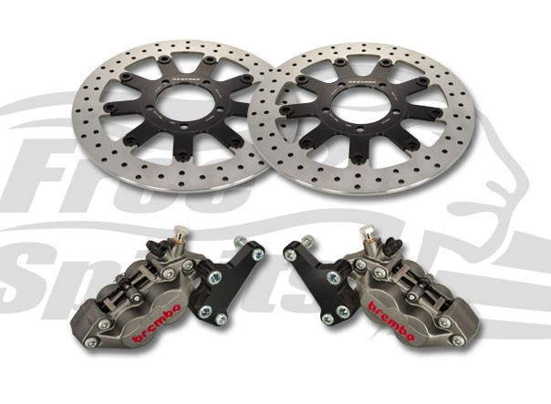olt-in Upgrade braking kit for Triumph Thruxton 1200 Std, Speedmaster & Bobber Black (4p. calipers & rotors diam. 310 mm)