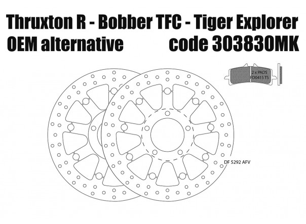 Triumph Thruxton R/RS/TFC, Bobber TFC & Tiger Explorer - OEM alternative front brake rotors & pads