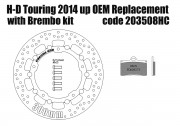 Harley Davidson Touring 2014 up OEM replacement front brake rotor 300mm & pads for Brembo kits