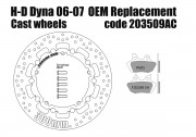 Harley Davidson Dyna 2006-07 (cast wheels) - OEM replacement front brake rotor (Chrome) 300mm & pads