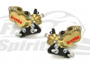 Front brake calipers 4 pot (Gold) kit for Harley Davidson 2006 up with dual disc