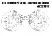 Harley Davidson Touring 2014 up - Bolt-in Upgrade braking kit (4p. calipers & rotors 320 mm) - KIT