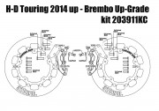 Harley Davidson Touring 2014 up - Bolt-in kit with 4p. (Black) calipers & (Chrome) rotors 320 mm