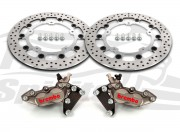Harley Davidson Touring 2014 up - Bolt-in kit with 4p. (Titanium) calipers & (Chrome) rotors 320 mm