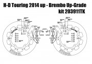 Harley Davidson Touring 2014 up - Bolt-in kit with 4p. (Titanium) calipers & (Black) rotors 320 mm