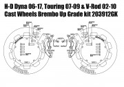 Harley Davidson Touring 07-09, Dyna 06-17 & V-Rod 02-10 - Bolt-in kit with 4p. (Gold) calipers & (Black) rotors 320 mm