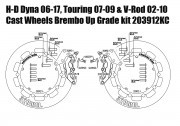 Harley Davidson Touring 07-09, Dyna 06-17 & V-Rod 02-10 - Bolt-in kit with 4p. (Black) calipers & (Chrome) rotors 320 mm