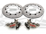 Harley Davidson Touring 07-09, Dyna 06-17 & V-Rod 02-10 - Bolt-in kit with 4p. calipers (Titanium) & rotors 320 mm