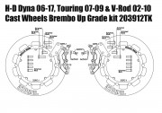 Harley Davidson Touring 07-09, Dyna 06-17 & V-Rod 02-10 - Bolt-in kit with 4p. (Titanium) calipers & (Black) rotors 320 mm
