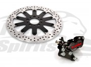 Harley Davidson single disc 2000 up - Bolt-in kit with 4p. caliper (Black) & rotor 320 mm