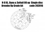 Harley Davidson single disc 2000 up - Bolt-in kit with 4p. caliper (Titanium) & rotor 320 mm