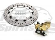 Harley Davidson Dyna cast wheels 06-17 - Bolt-in kit with 4p. (Gold) caliper & (Chrome) rotor 320 mm