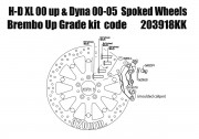 Harley Davidson Sportster 00 up & Dyna 00-05 with spoked wheels - Bolt-in kit with 4p. (Black) caliper & rotor 320 mm