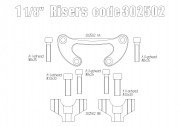 """Oversize Risers (28.6 mm-1 1/8"""") for Triumph Thruxton R (Silver)"""