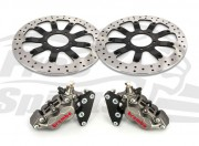 Bolt-in Upgrade braking kit for Triumph Bonneville T120 (4p. calipers Titanium & rotors diam. 340 mm)