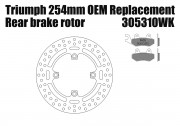 Rear brake rotor diam 254 mm & pads for Triumph