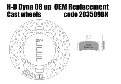 Harley Davidson Dyna 2008 up (cast wheels) OEM replacement front brake rotor 300mm & pads