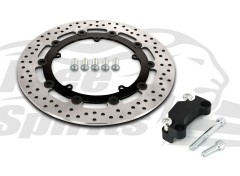 Harley Davidson Dyna (Cast wheels) 2008-2017 - Brake rotor kit (Black) 320 mm & pads