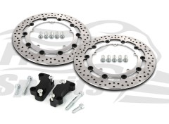 Harley Davidson Dyna dual disc (cast wheels) 08-17 -  Brake rotors kit (Chrome) 320 mm & pads