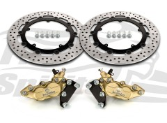 Harley Davidson Touring 07-09, Dyna 06-17 & V-Rod 02-10 - Bolt-in kit with 4p. calipers (Gold) & rotors 320 mm