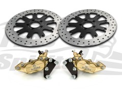 Harley Davidson dual disc 2000 up - Bolt-in kit with 4p. calipers & rotors 320 mm - KIT