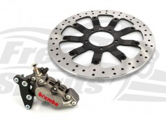 Bolt-in Upgrade braking kit for Triumph Bobber, Street Scrambler & Bonneville T100 (4p. caliper Titanium & rotor diam. 340 mm)
