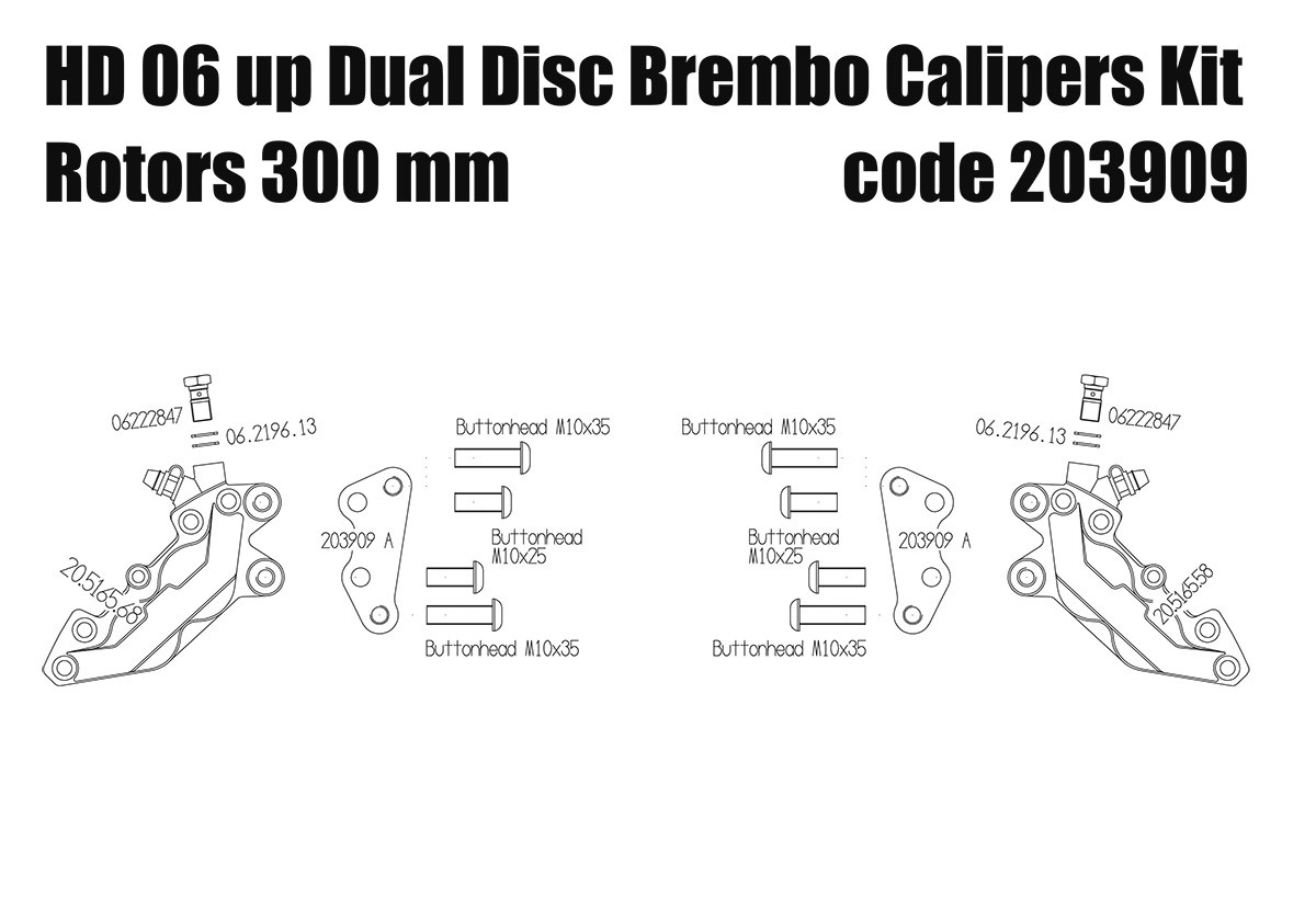 Front brake calipers 4 pot kit for Harley Davidson 2006 up with dual