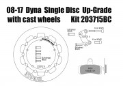 Harley Davidson Dyna (Cast wheels) 2008-2017 - Brake rotor kit (320 mm) & pads